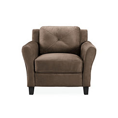 Verona Brown Microfiber Rolled Arm Chair
