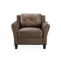 Verona Brown Microfiber Rolled Arm Chair