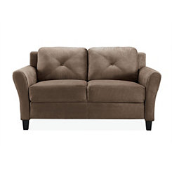 Verona Brown Microfiber Rolled Arm Loveseat