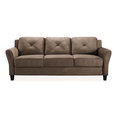 Verona Brown Microfiber Rolled Arm Sofa