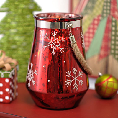 Red Snowflake Candle Lantern
