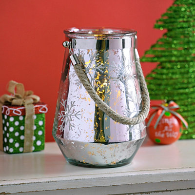 Silver Snowflake Candle Lantern