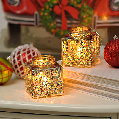 Gold Mini Mercury Lanterns, Set of 2