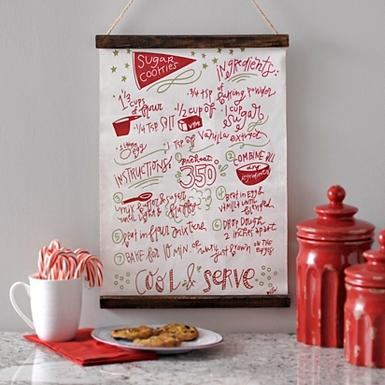 sugar cookie recipe wall hanger - Christmas Wall Decor