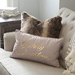 Merry Christmas Gold Foil Pillow