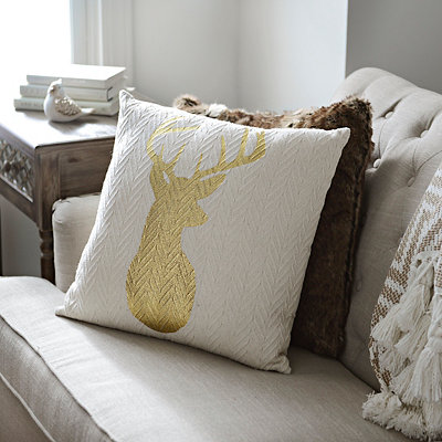 Gold Reindeer Silhouette Knit Pillow