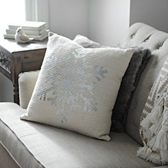 Silver Snowflake Silhouette Knit Pillow