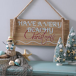 Very Beachy Christmas Wooden Plaque