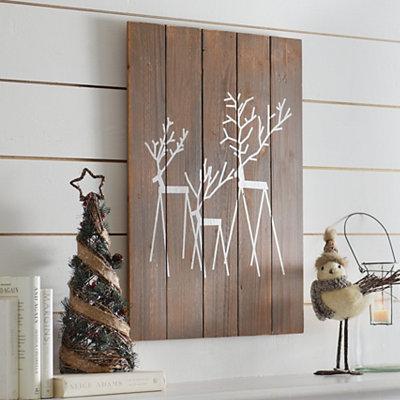 Rustic Reindeer Wooden Plaque