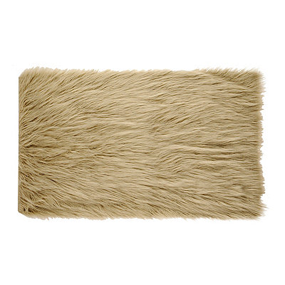 Oatmeal Faux Fur Scatter Rug