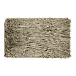 Silver Faux Fur Scatter Rug