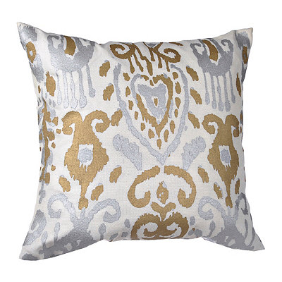 White Ikat Medallion Pillow