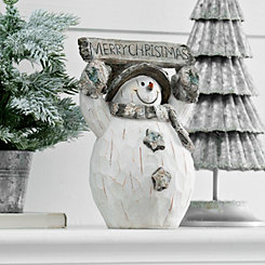 Merry Christmas Birch Snowman Statue