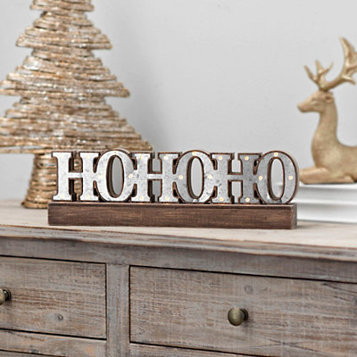 Pre-Lit Ho Ho Ho Metal Tabletop Sign