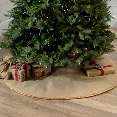 Gold Sequin Burlap Tree Skirt