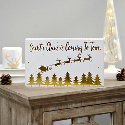 Santa Claus Is Coming To Town Gold Leaf Word Block