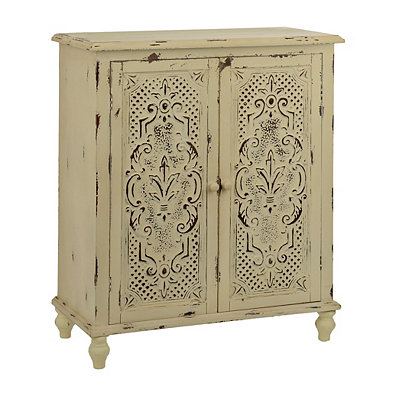 Cream Jana Small Carved Cabinet