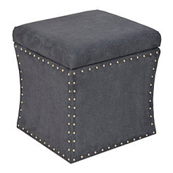 Blue Studded Square Storage Ottoman