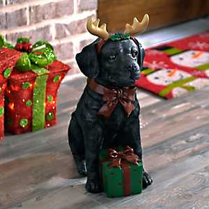 Black Lab Puppy Present Statue