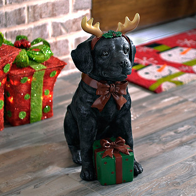 Black Lab Puppy Present Statue