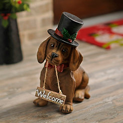 Christmas Welcome Dachshund Puppy Statue