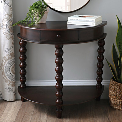 Espresso Demilune Turned Leg Console Table