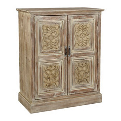 Natural Ravina Carved Wood Cabinet