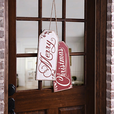 Merry Christmas Gift Tag Wooden Plaques, Set of 2