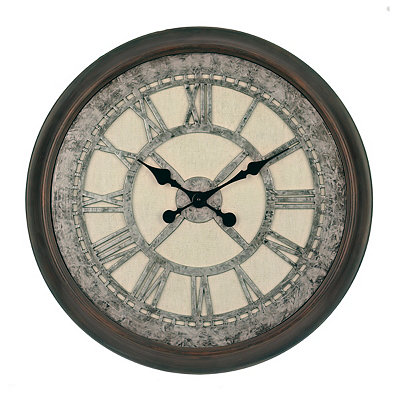 Galvanized Cream Wall Clock