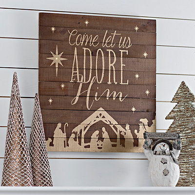 Pre-Lit Come Let Us Adore Him Wooden Plaque