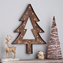Pre-Lit Rustic Finish Tree Plaque