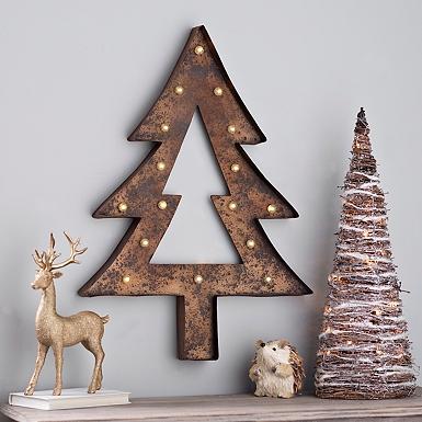 pre lit rustic finish tree plaque - Christmas Wall Decor