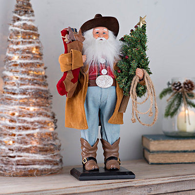Standing Cowboy Santa Claus Statue
