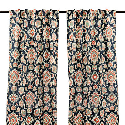 Navy Katrin Curtain Panel Set, 96 in.