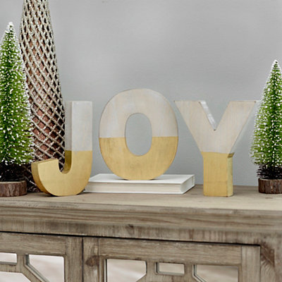 Gold Dipped Wooden Joy Letters, Set of 3