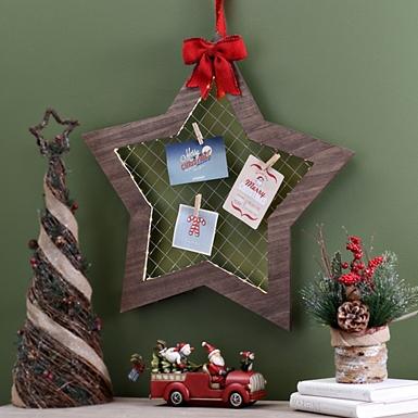 pre lit star hanging card holder - Christmas Wall Decor