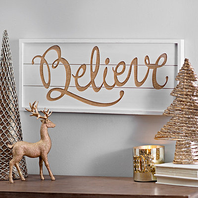 Believe Gold Script Wooden Plaque