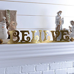 Believe Gold Metal Tabletop Sign