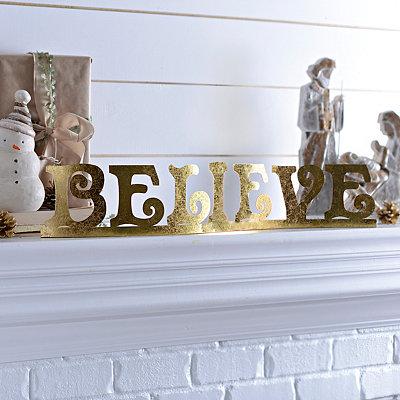 Believe Gold Metal Tabletop Sign