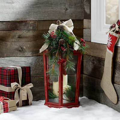 Christmas Floral Red LED Lantern