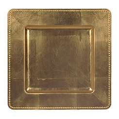 Dotted Gold Square Decorative Charger