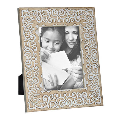 White Engraved Wood Picture Frame, 5x7