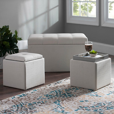 Cream Linen Storage Ottomans, Set of 3