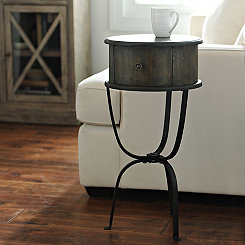 Distressed Round Accent Table