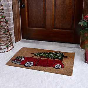 Retro Christmas Tree Truck Doormat