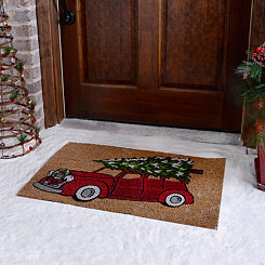 Retro Christmas Tree Truck Doormat