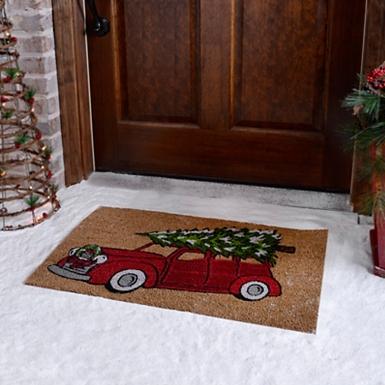 Coir Welcome Doormat Retro Christmas Tree Truck