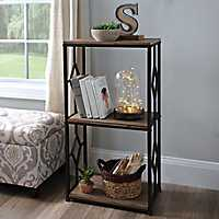 Brown 3-Tier Wood and Metal Shelf