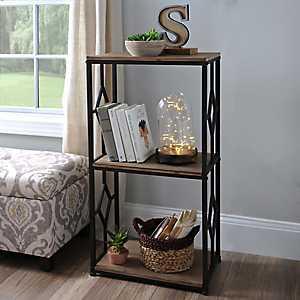 Brown 3-Tier Wood and Metal Shelf