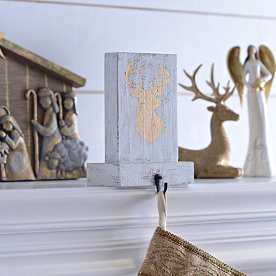 Gold Reindeer Silhouette Stocking Holder